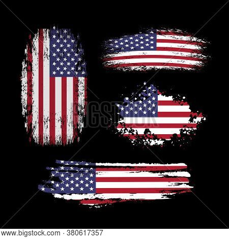 Vector Set Of American Distress Flags On Black. Flags Of Usa