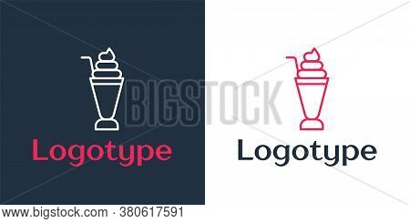 Logotype Line Milkshake Icon Isolated On White Background. Plastic Cup With Lid And Straw. Logo Desi