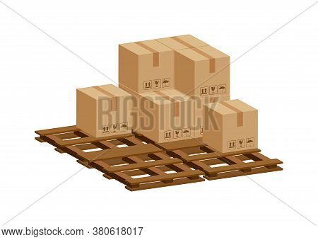 Pile Crate Boxes 3d On Wooden Pallet, Wood Pallet With Cardboard Box Of Factory Warehouse Storage, C