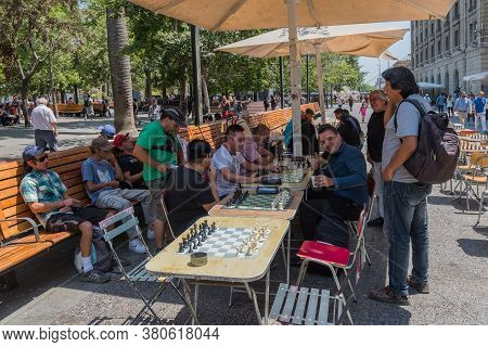 Chess Players In The Plaza De Armas In Santiago, Chile