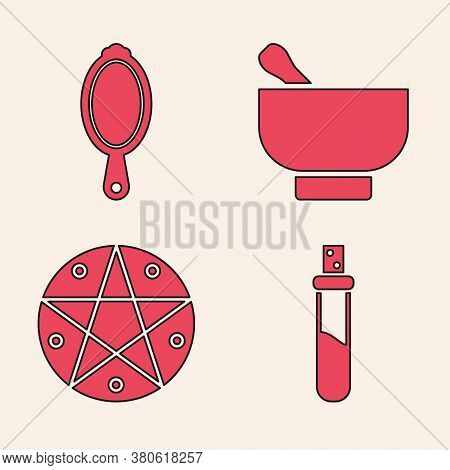 Set Bottle With Love Potion, Magic Hand Mirror, Magic Mortar And Pestle And Pentagram In A Circle Ic