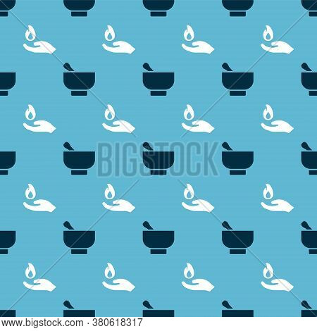Set Magic Mortar And Pestle And Hand Holding A Fire On Seamless Pattern. Vector