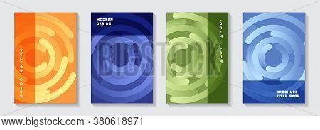 Corporate Publication Title Pages Set. Trendy Banner Circles Swirl Vector Backgrounds. Aim Goal Achi