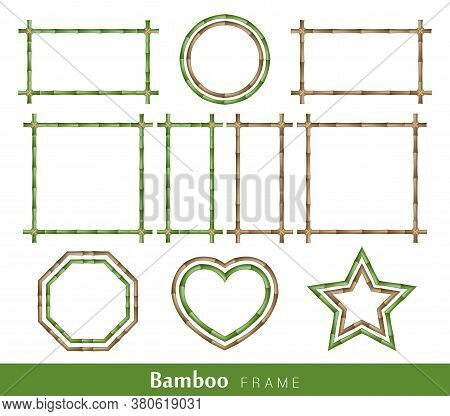 Bamboo Frame Made Of Stems Tied Up With Rope. Set Of Wooden Brown And Green Bamboo Border Frames