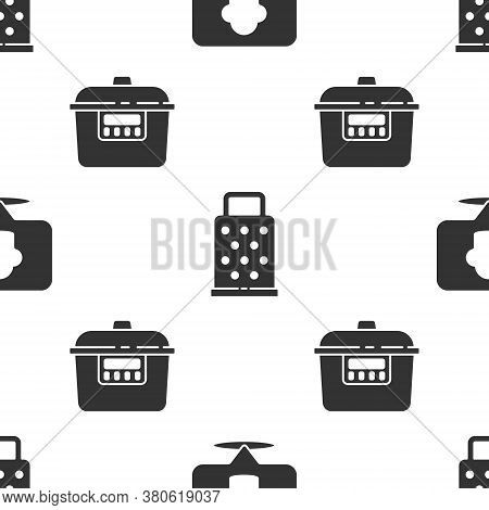 Set Chef Hat With Location, Grater And Slow Cooker On Seamless Pattern. Vector