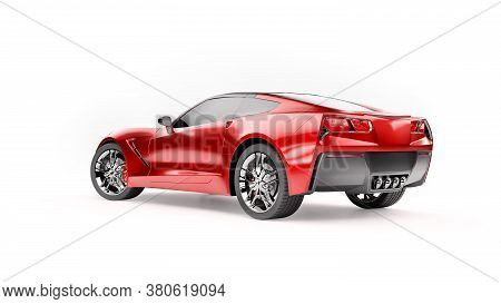 Back View Of A Red Sports Suv Car Isolated On White Background. 3d Illustration And 3d Render Of Mod