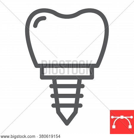 Denatal Implant Line Icon, Dental And Stomatolgy, Implant Tooth Sign Vector Graphics, Editable Strok
