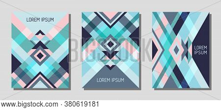 Collection Of Cover Page Layouts, Vector Templates Geometric Design With Triangles And Stripes. Carn