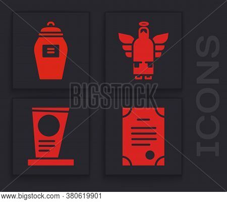 Set Death Certificate, Funeral Urn, Christmas Angel And Grave With Tombstone Icon. Vector