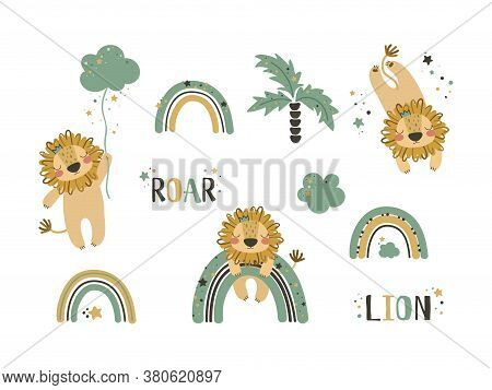 Set Of Cute Lion Clip Art. Use This Clipart To Create Baby Shower Invites, Nursery Art, Birthday Dec