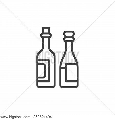 Two Wine Bottles Line Icon. Linear Style Sign For Mobile Concept And Web Design. Two Bottles Of Wine