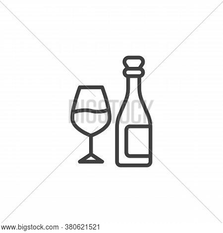 Bottle And Glass Of Wine Line Icon. Linear Style Sign For Mobile Concept And Web Design. Wine Bottle