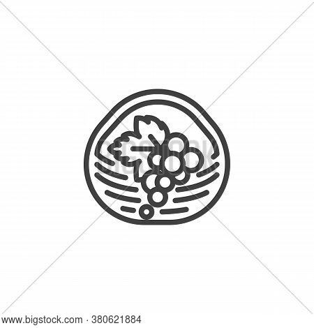 Basket With Grapes Line Icon. Linear Style Sign For Mobile Concept And Web Design. Bunch Of Grape In