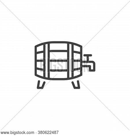 Wooden Barrel With Tap Line Icon. Linear Style Sign For Mobile Concept And Web Design. Wine Barrel O