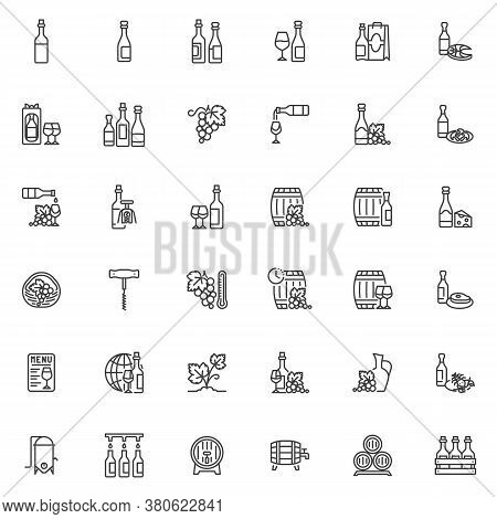 Wine Production Line Icons Set. Winery Linear Style Symbols Collection, Outline Signs Pack. Vector G