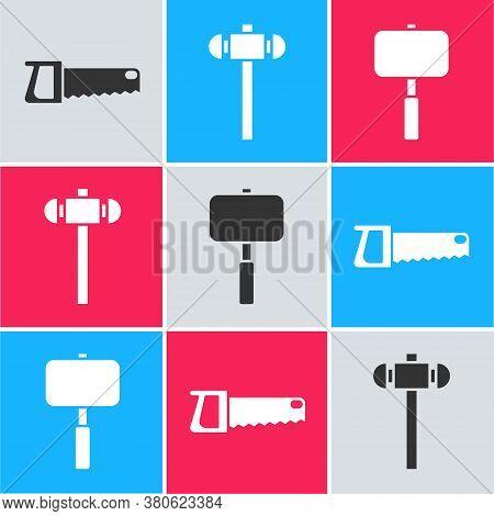 Set Hand Saw, Sledgehammer And Sledgehammer Icon. Vector