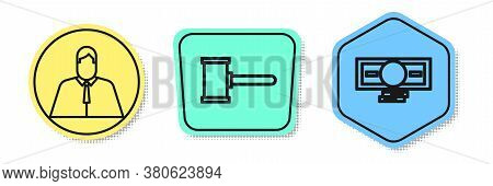 Set Line Lawyer, Attorney, Jurist, Judge Gavel And Stacks Paper Money Cash. Colored Shapes. Vector