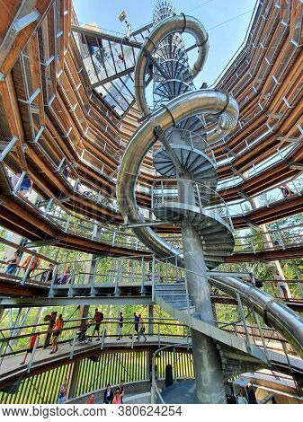 Janske Lazne, Czech Republic - August 09, 2020: The Interior With Slide Of Observation Tower Of The