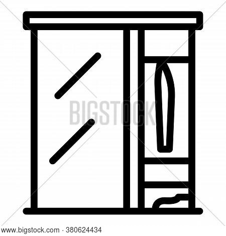 Living Room Wardrobe Icon. Outline Living Room Wardrobe Vector Icon For Web Design Isolated On White
