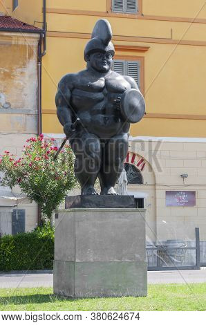 Pietrasanta, Italy - August 12, 2020 - Statue Of Fernando Botero, Entitled The Warrior In A Square O