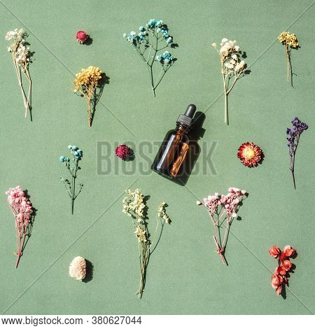 Top View Of Bottle With Pipette On Green Background. Dried Multicolored Flowers Around Bottle. Alter