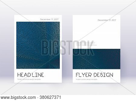 Minimal Cover Design Template Set. Red Abstract Lines On White Blue Background. Dramatic Cover Desig