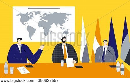 Political Summit Vector Illustration With Male Politicians Sitting Near The World Map And Flags, Dis