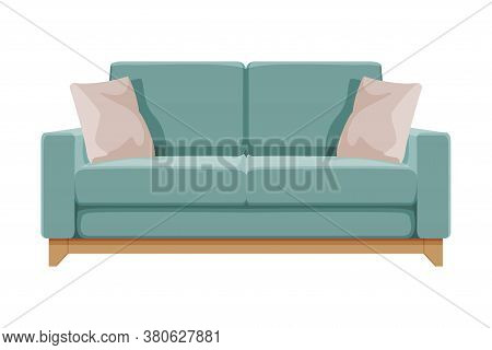 Turquoise Comfortable Sofa With Pillows, Cozy Domestic Or Office Furniture, Modern Interior Design F