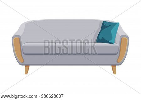 Comfortable Sofa, Cushioned Cozy Domestic Or Office Furniture With Gray Upholstery, Interior Design