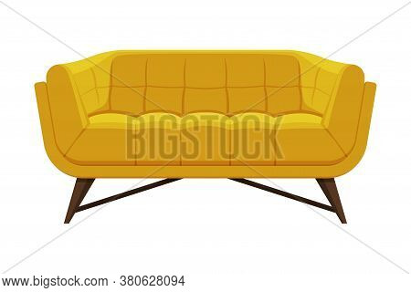 Comfortable Sofa, Cushioned Cozy Domestic Or Office Furniture With Yellow Upholstery, Modern Interio
