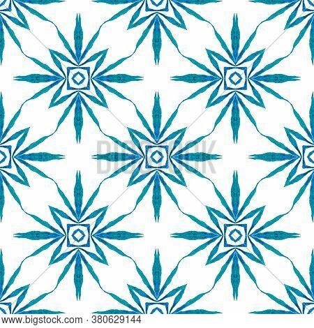 Trendy Organic Green Border. Blue Perfect Boho Chic Summer Design. Organic Tile. Textile Ready Ideal