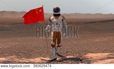 Astronaut Walking On Mars With Chinese Flag. Exploring Mission To Mars Red Planet. Futuristic Coloni