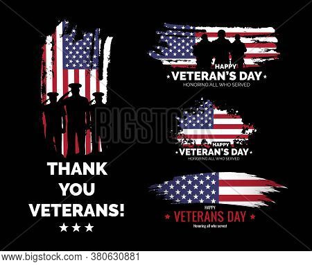 Set Of Veteran's Day Banners. Honoring All Who Served. Veteran's Day Illustration With American Flag