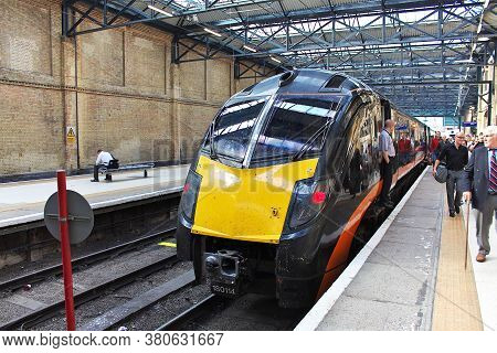 London / Uk - 7 Aug 2013: The Train On The Railway Station, England