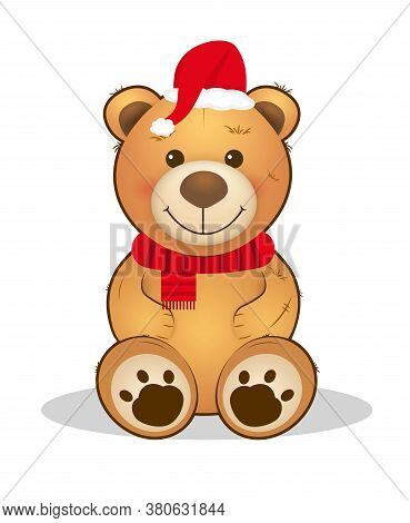 Cute Christmas Teddy Bear. Cartoon Animal. Holiday Illustration