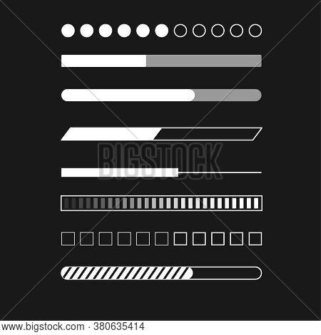 Web Progress Status Load Data Upload Bar Digital Symbol Download Buffer Page Indication Concept Vect
