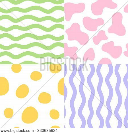 Set With Abstract Cartoon Pastel Seamless Pattern.