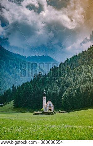 Dolomites Italy, Santa Magdalena Village In Dolomites Area Italy Val Di Funes