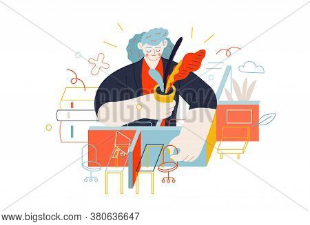 Business Topics - Office Management. Flat Style Modern Outlined Vector Concept Illustration. Young W