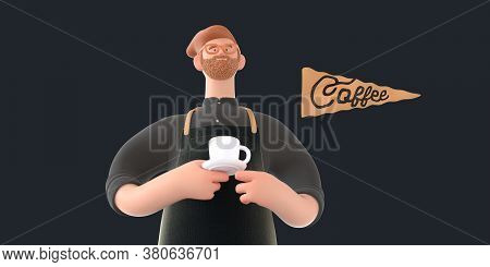 Coffee Shop 3d Render - Barista -modern Concept Digital Illustration Of A Bearded Red Haired Young M