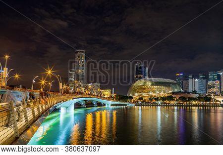 Singapore, Singapore - JULY 15, 2020: View at Singapore City Skyline at night