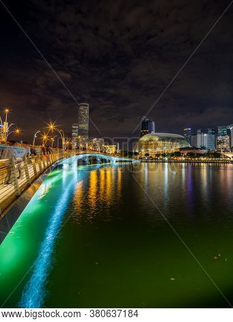 Singapore, Singapore - JULY 16 2020: View at Singapore City Skyline at night