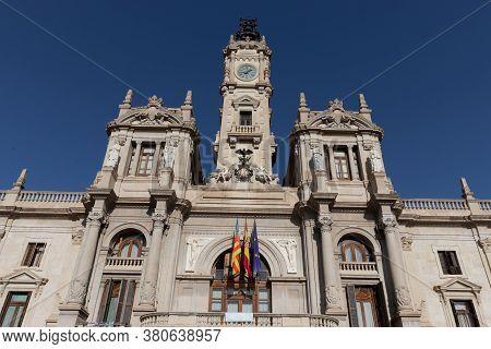 Valencia, Spain - July 15, 2020: City Hall Of Valencia Or Ayuntamiento De Valencia In Spain