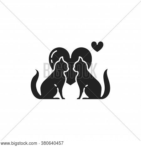 Mating Animals Black Glyph Icon. Combination Of Two Animal Individuals, Serving Reproduction. Pictog