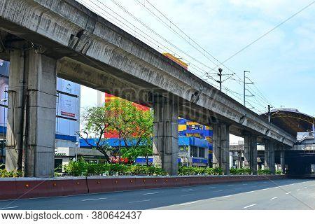 Quezon City, Ph - Mar 30 - Lrt 2 (light Rail Transit 2) Train Line On March 30, 2018 In Quezon City,