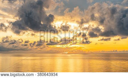 Beautiful Sunset On The Sea At Golden Hour