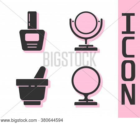 Set Round Makeup Mirror, Nail Polish Bottle, Mortar And Pestle And Round Makeup Mirror Icon. Vector