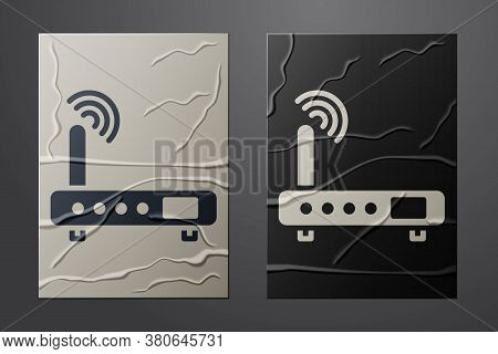 White Router And Wi-fi Signal Icon Isolated On Crumpled Paper Background. Wireless Ethernet Modem Ro