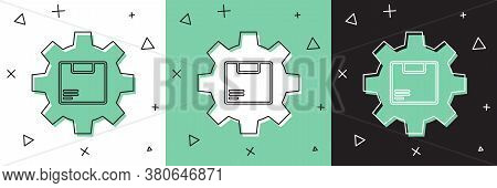 Set Gear Wheel With Package Box Icon Isolated On White And Green, Black Background. Box, Package, Pa