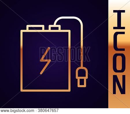 Gold Line Power Bank With Different Charge Cable Icon Isolated On Black Background. Portable Chargin